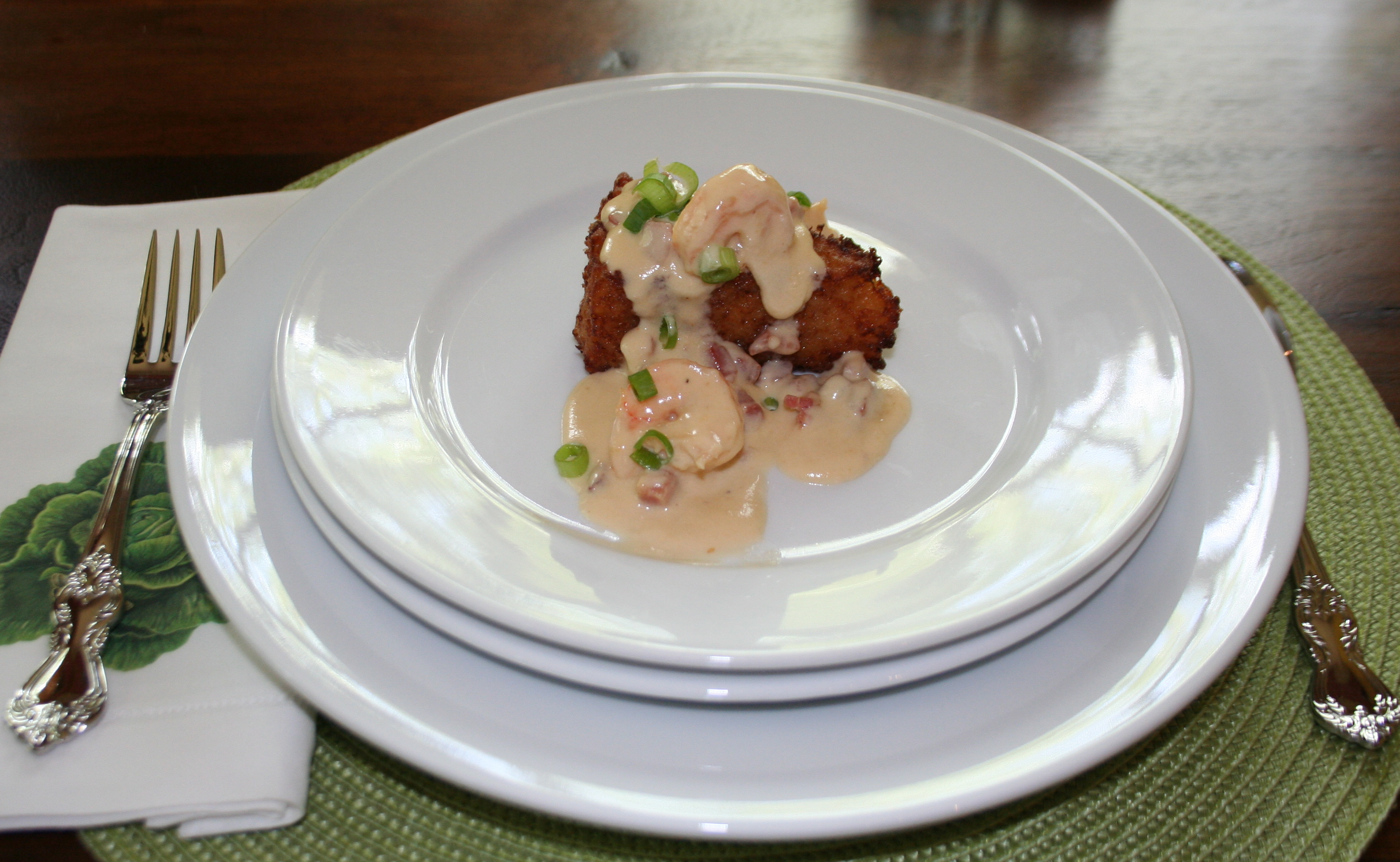 Crispy Risotto Cakes with Fresh Shrimp in a Country Ham Cream Sauce