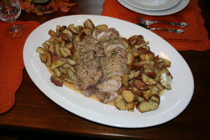 Pork Tenderloin with Oven Roasted Potatoes and Gravy