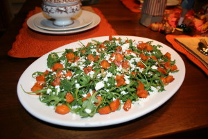 Arugula Salad with Goat Cheese, Roasted Butternut Squash & Toasted Pumpkin Seeds
