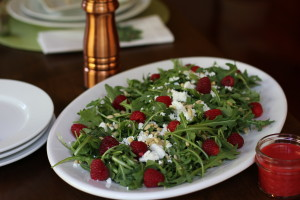 Raspberry Salad with Goat Cheese and Raspberry Vinaigrette