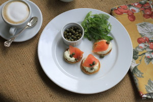 Home Made Blinis with Smoked Salmon