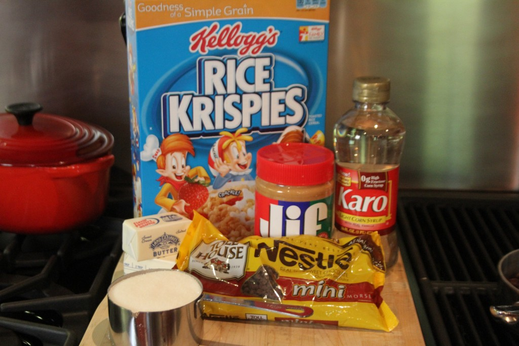 Ingredients for Peanut Butter Rice Crispy Treats