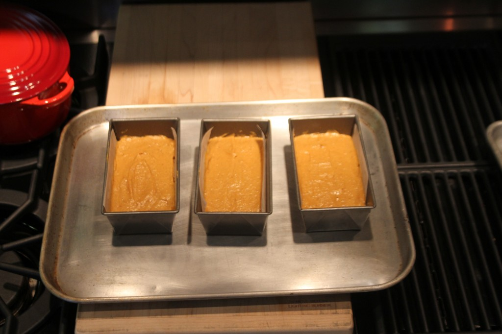 loaf pans ready to bake