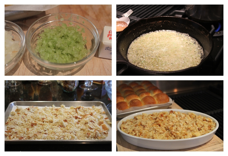 Steps chopped celery, saute onion & celery, toasted bread, dish for baking