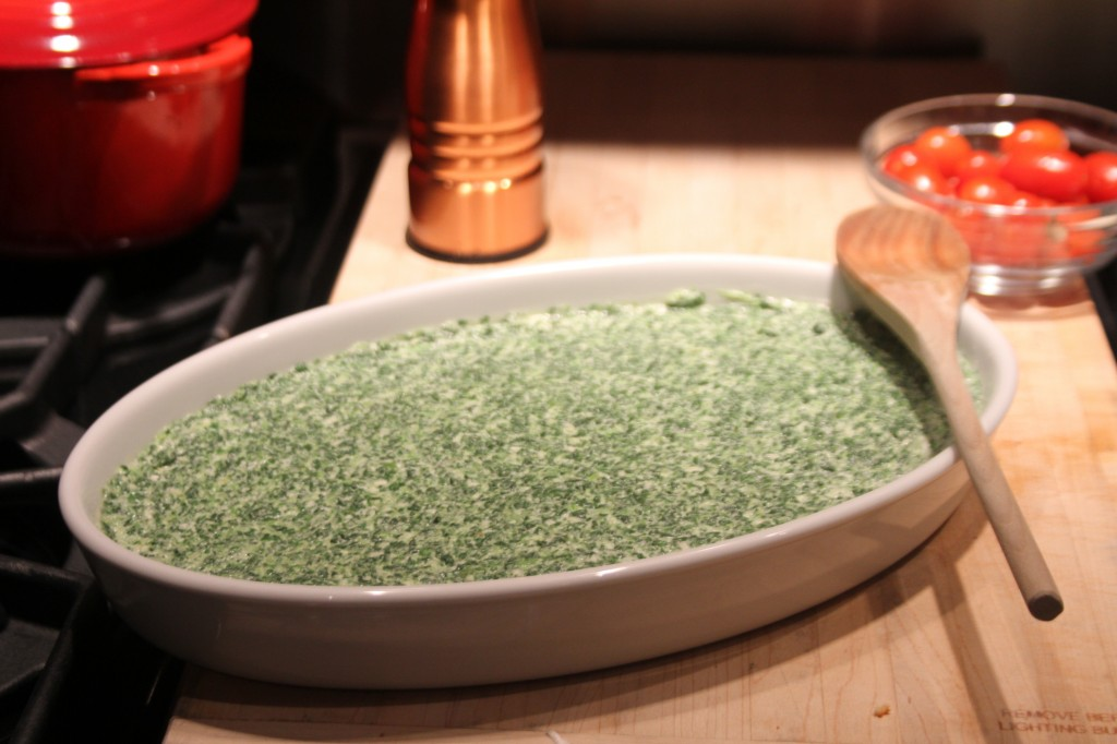 creamed spinach before baking