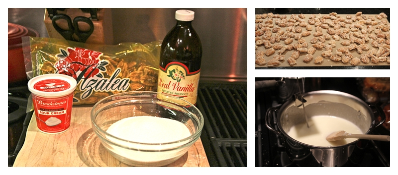 Ingredients and steps for making candied pecans