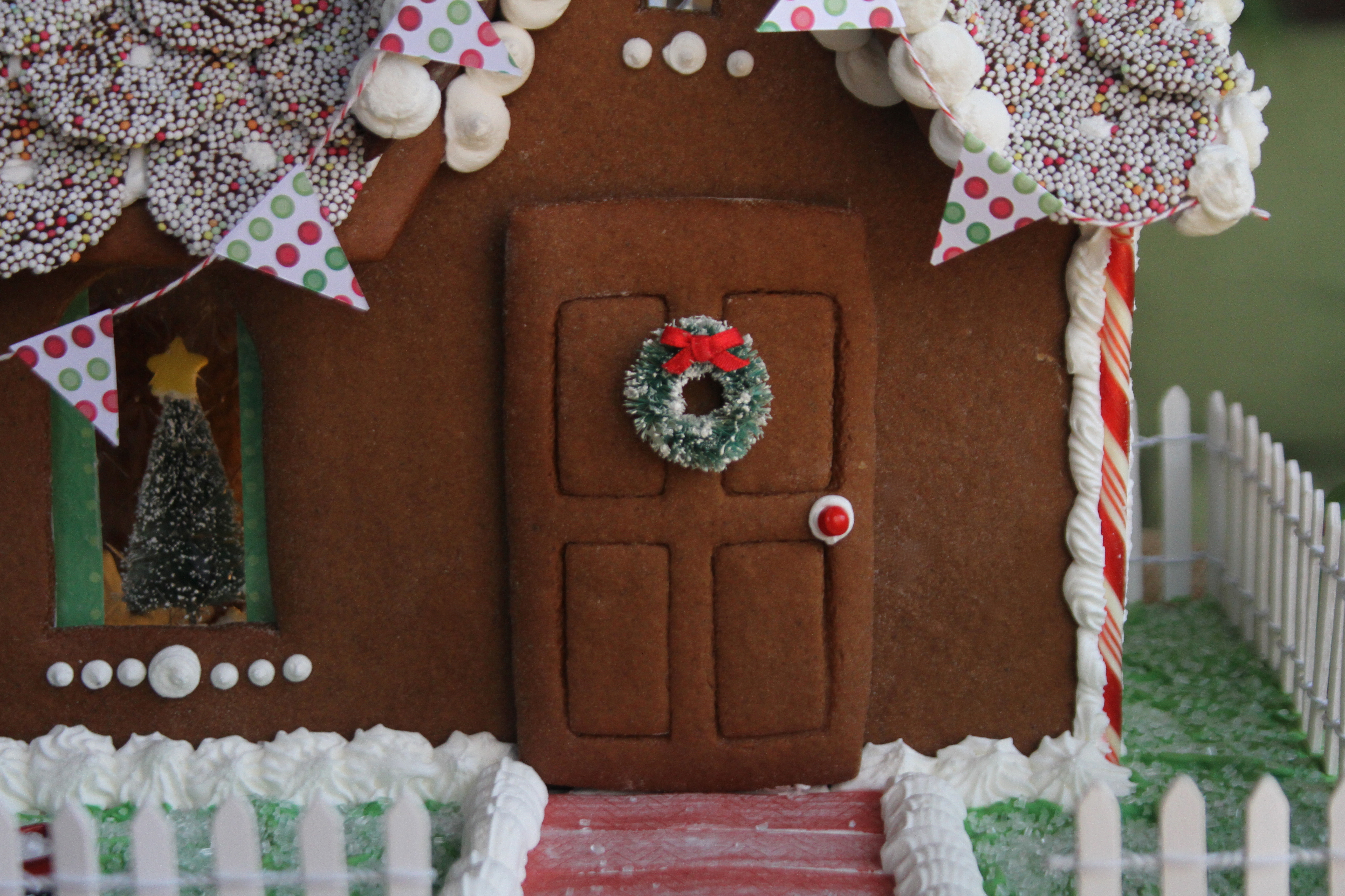 Front Door of Gingerbread House & How to make \u0026 build a gingerbread house with photos \u0026 recipe |