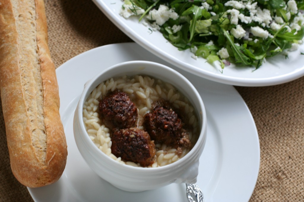 Greek Meatballs with Manestra Pasta