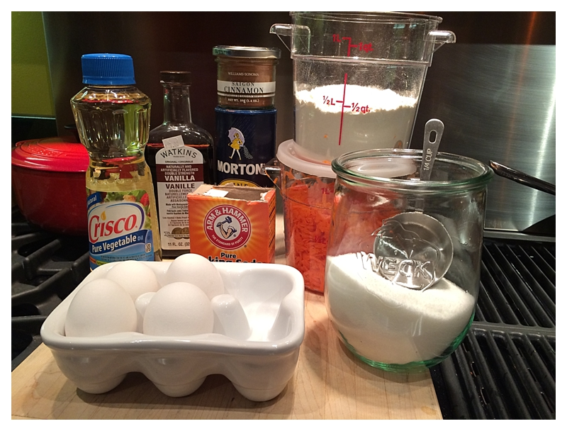 ingredients for the carrot cake