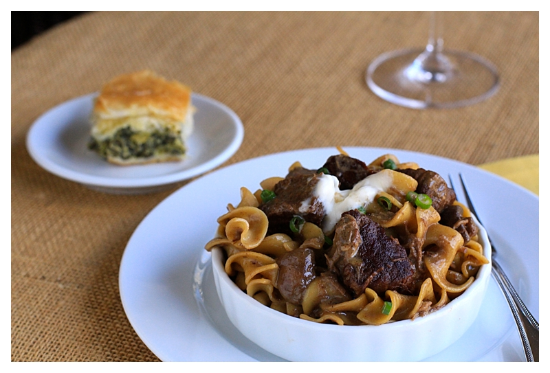 Angie's Beef Stroganoff with red wine, spinach pie and salad ...enjoy!