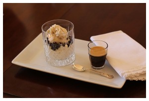 Affogato with Chocolate Pearls and Chantilly Cream