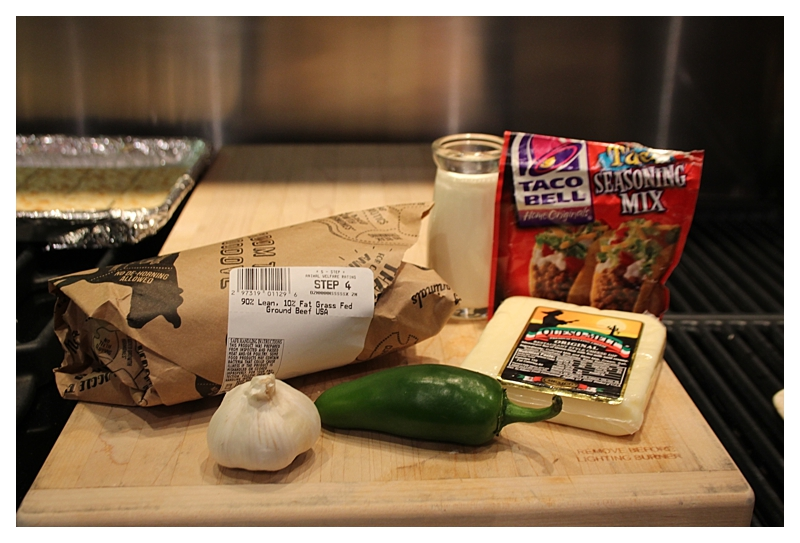 Ingredients for cheese burger tacos