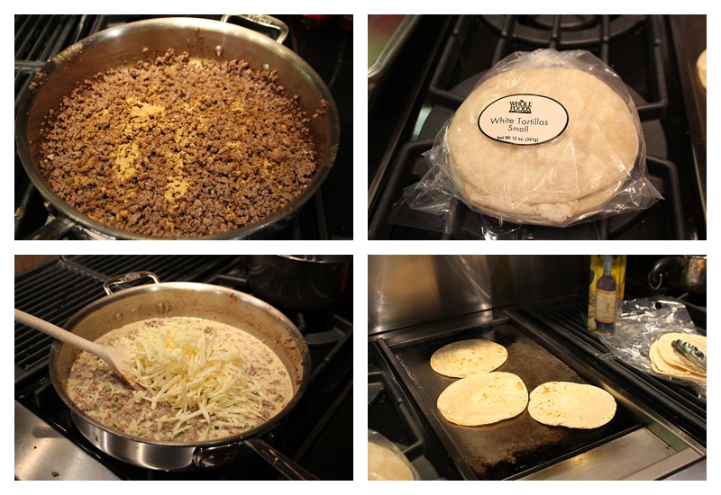 steps  for making cheese burger tacos