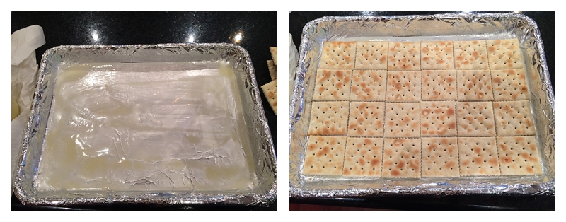 Crackers on lined foil pan