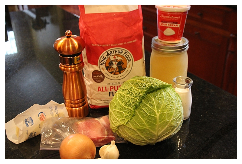 ingredients for creamed cabbage soup