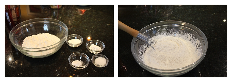 Steps for making Biscuits ~ Flour ~ whisk in all dry ingredients
