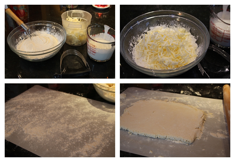 Mixing biscuits and rolling out 1/2 inch thick