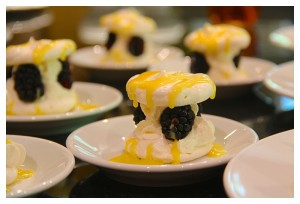 Passion Fruit and Blackberry Pavlovas