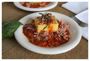 Grilled Polenta with Spicy Marinara and Sausage